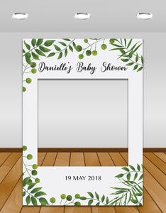 Green Leaves Baby Shower Instagram photo frame prop or selfie frame
