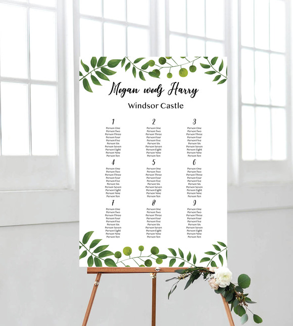 garden seating chart - portrait for wedding. ships from Auckland, New Zealand (NZ)