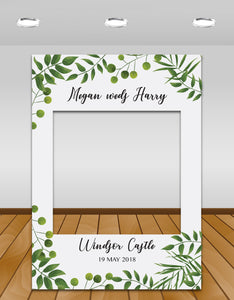 Green Leaves Wedding Instagram photo frame prop or selfie frame