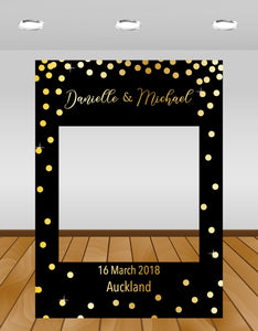 Black with Gold Confetti Wedding Instagram photo frame prop or selfie frame