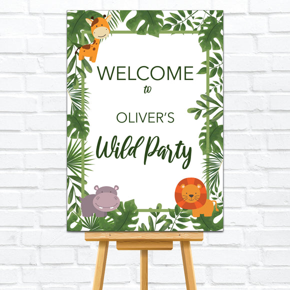 Wild One Jungle Kid's Birthday Party Welcome Sign/Board/Poster. Ships from Auckland, New Zealand (NZ)