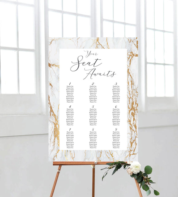 Marble Look Seating Chart. A perfect addition to your on the day wedding signage. Ships from Auckland, New Zealand (NZ)