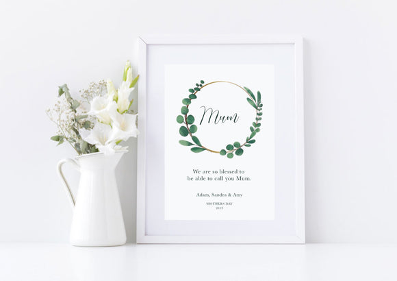 Green Wreath Mother's Day Print
