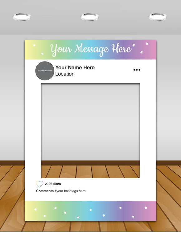 Pastel Kids Party Instagram photo frame prop or selfie frame (Unicorn)