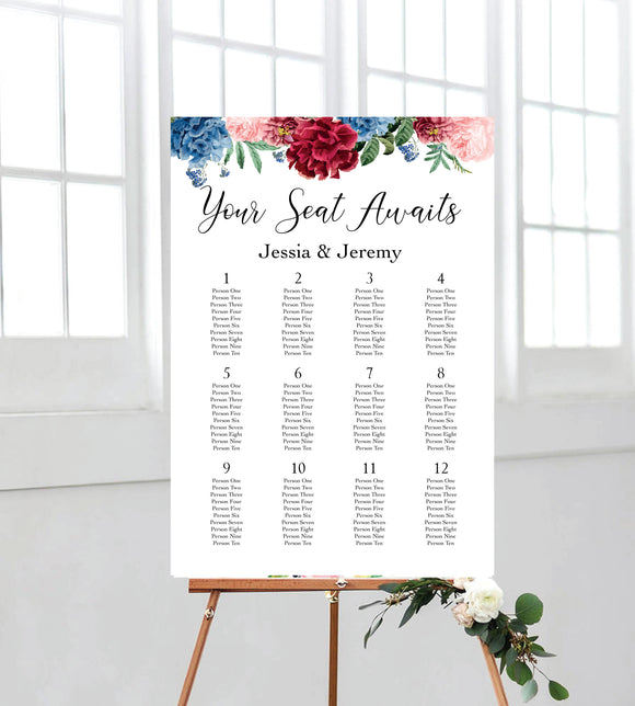peony poppies seating chart. perfect for weddings. ships from Auckland, nz