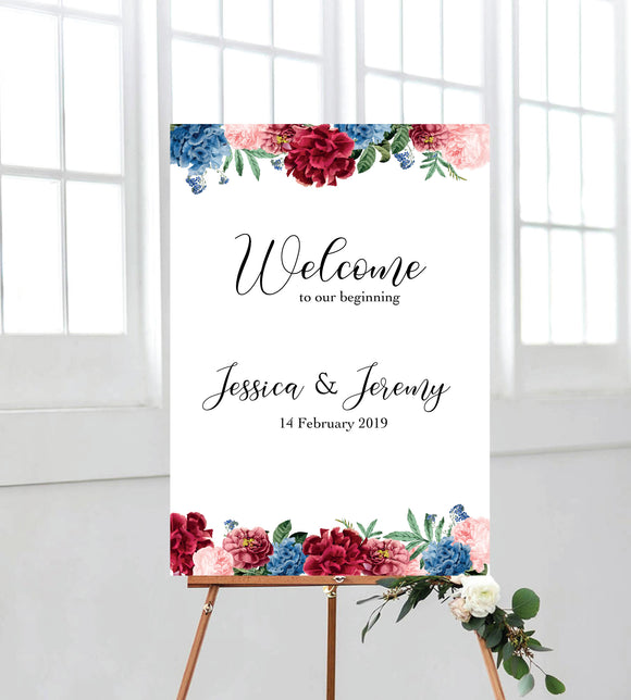 Peony Poppies Welcome Sign. Perfect for events such as weddings, Birthdays, Bridal Showers, Engagements, Baby Showers, etc. Ships from Auckland, NZ