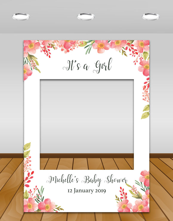 Pink Floral Baby Shower Instagram photo frame prop or selfie frame