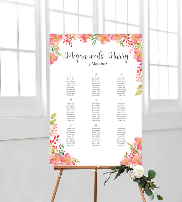 Pink Floral Seating chart perfect addition to your wedding signage. Ships from Auckland, New Zealand (NZ)