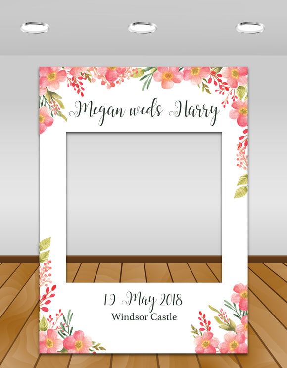 Pink Floral Wedding Instagram photo frame prop or selfie frame
