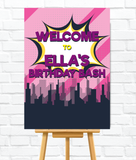 Pink Superhero Welcome Sign for Kids parties. Perfect for girls superhero theme.Ships from Auckland, New Zealand (NZ)