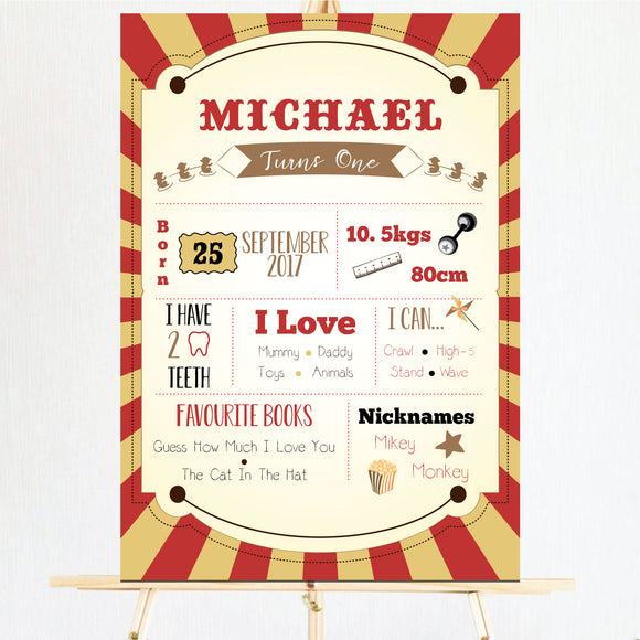 red and gold circus milestone board/sign/poster for kids first birthday. Ships from Auckland, New Zealand (NZ)
