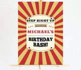 red and gold circus welcome sign/board/poster for kids birthday party. Ships from Auckland, NZ