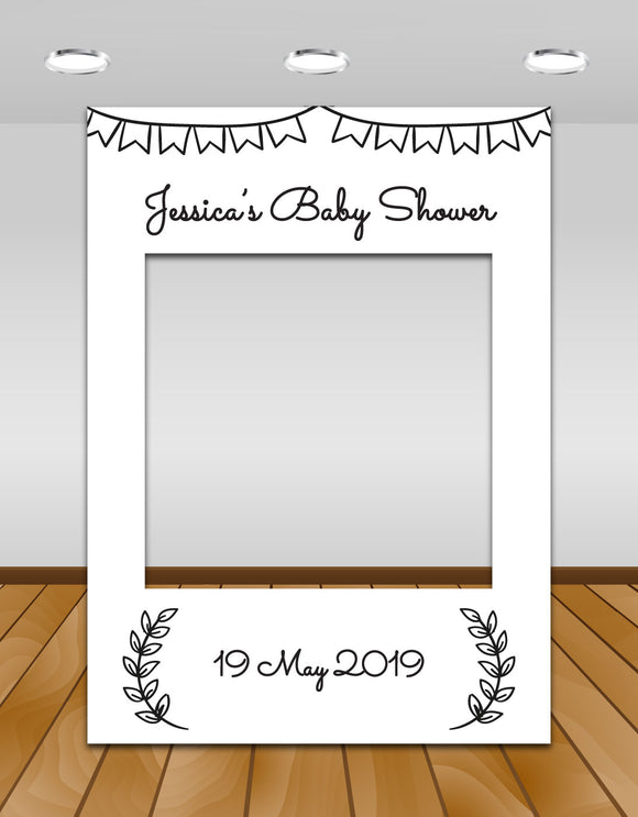 Black and White Rustic Baby Shower Instagram frame prop or selfie frame