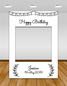 Black and White Rustic Birthday Instagram photo frame prop or selfie frame