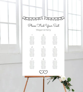 Rustic seating chart. A perfect addition to your on the day wedding signage. Ships from Auckland, New Zealand