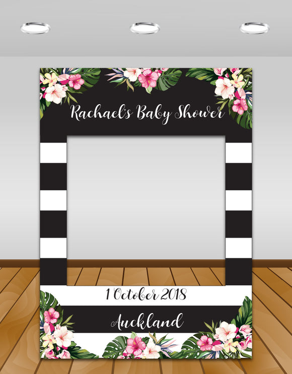 Tropical flowers, black and white stripes Baby Shower Instagram photo frame prop or selfie frame
