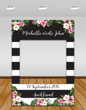 tropical flowers, black and white stripes wedding Instagram photo frame prop or selfie frame