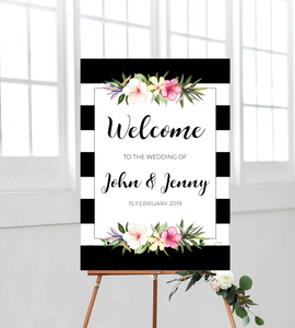 Tropical welcome sign/board for weddings, birthdays, baby showers, anniversaries, engagements, etc. Ships from Auckland, New Zealand (NZ)
