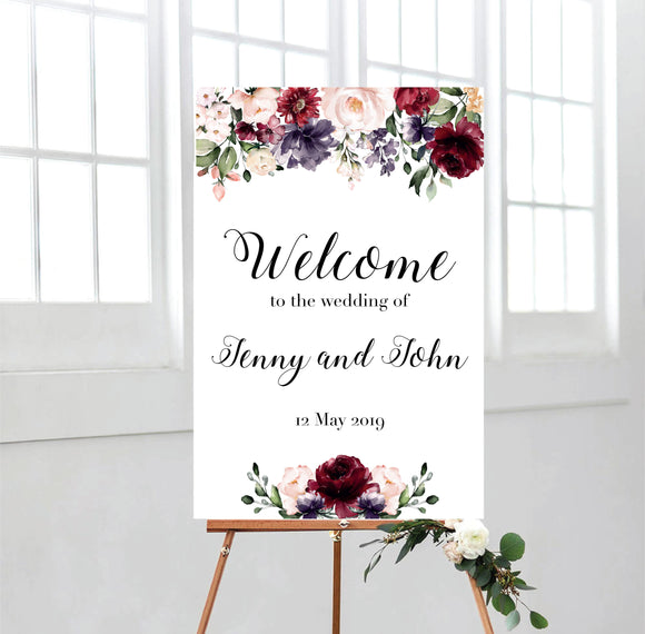 Burgundy Watercolour Flowers Welcome Sign