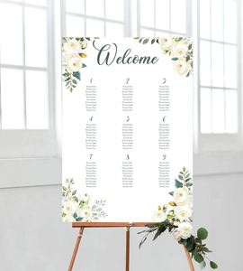 White roses wedding seating chart/board. Ships from Auckland, New Zealand (NZ)
