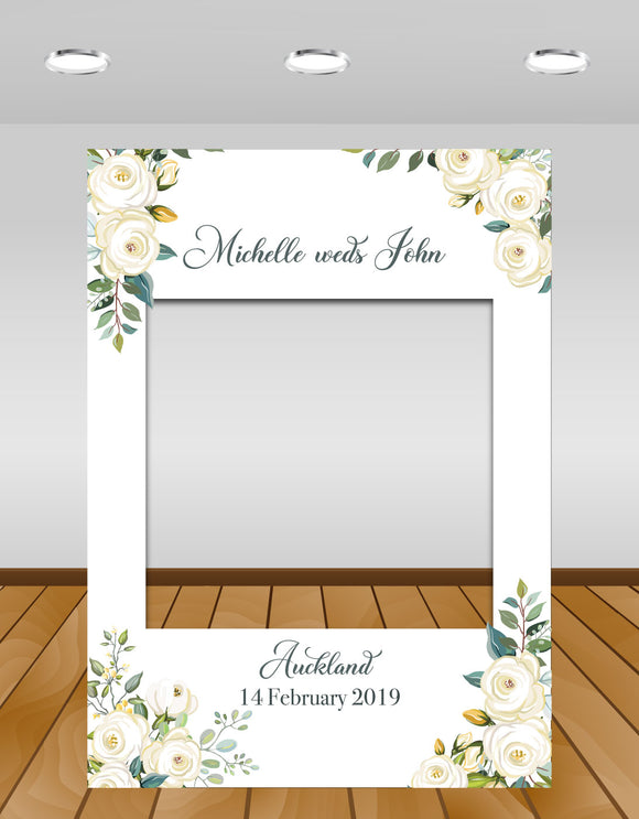 white roses wedding instaframe (selfie frame or instagram frame prop)