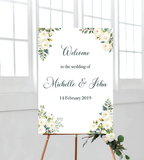White Roses welcome sign/board for all events such as weddings, bridal showers, birthdays, baby showers and parties.
