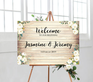 Wooden Look Welcome Sign