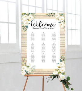 wooden look seating chart, a perfect addition to your on the day wedding signage. Ships from Auckland New Zealand (NZ).
