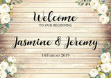 Wooden look welcome sign/board for all events such as weddings, bridal showers, birthdays, baby showers and parties.