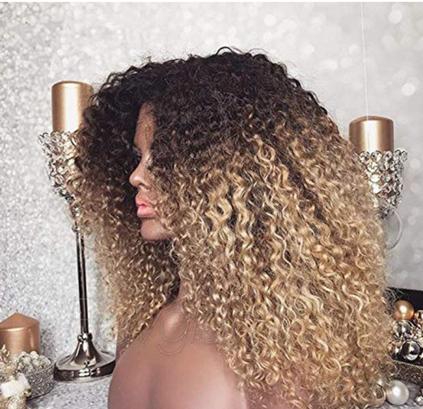 Mongolian Ombre Afro Kinky Curly Wig 13x6 250 Density
