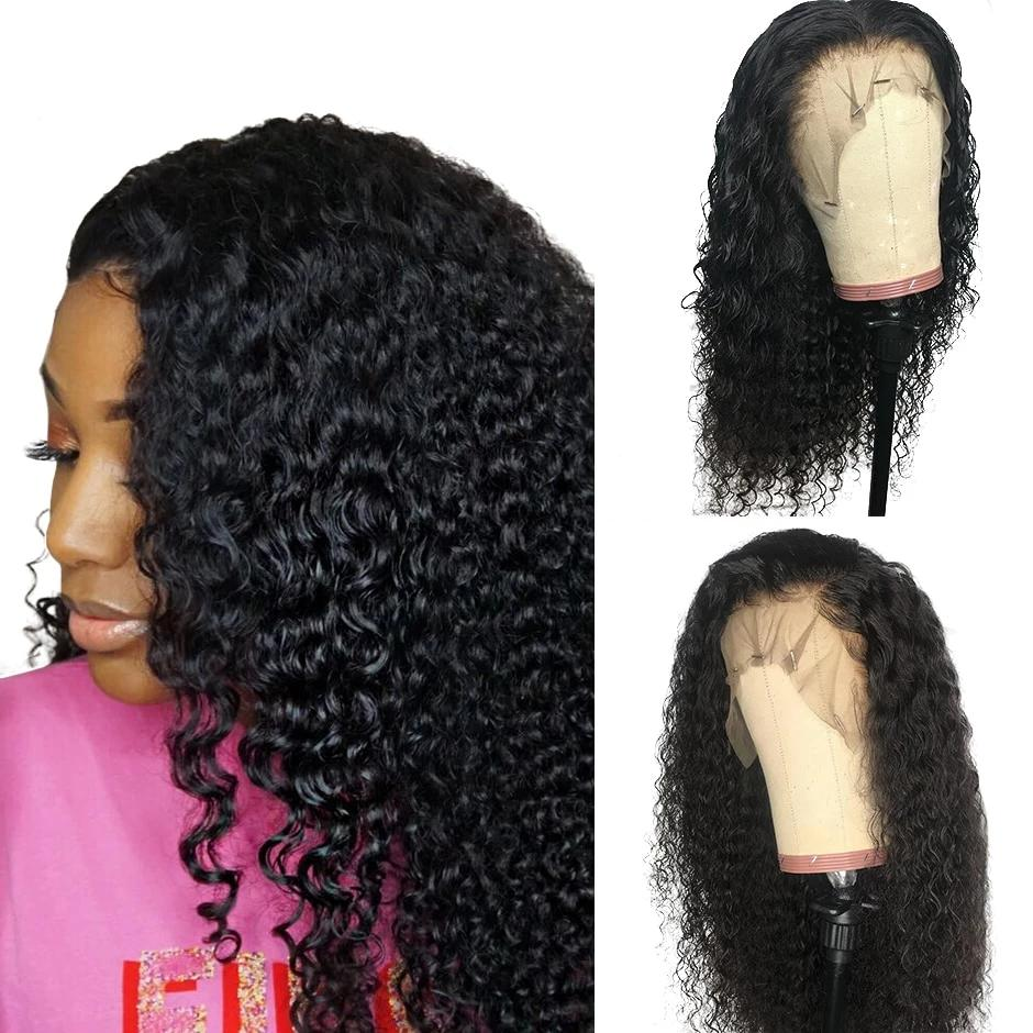 Full Lace Mongolian Kinky Curly Wigs Pre Plucked 150% Density