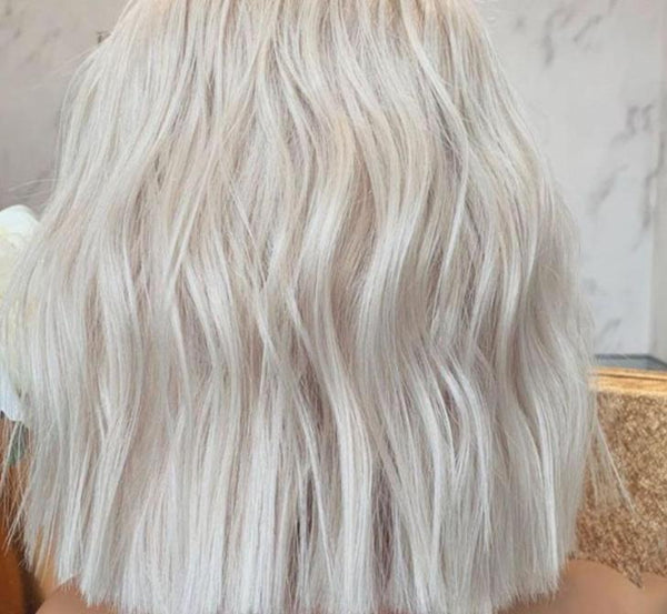 13x4 Transparent Clear Lace wig Ash White Blonde Color