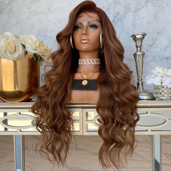 360 Lace Frontal Human Hair Wig - Chestnut Brown