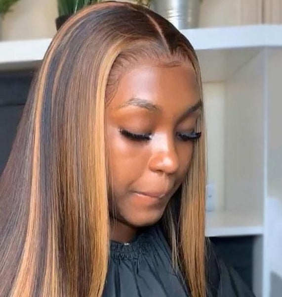 Straight Human Hair Wig -Highlight Colored #4/30
