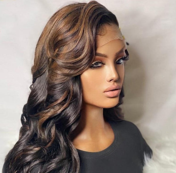 Body Wave Lace Frontal Wigs With Highlight
