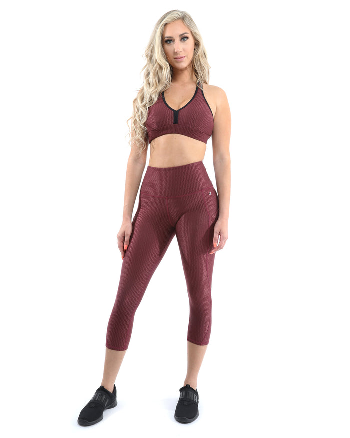 Load image into Gallery viewer, Verona Activewear Set - Leggings & Sports Bra - Maroon [MADE IN ITALY] - Savoy Active