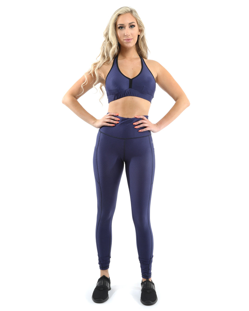 Venice Activewear Set - Leggings & Sports Bra - Navy [MADE IN ITALY] - Savoy Active