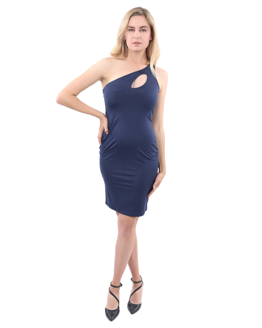 Eden Asymmetric Neckline Mini Dress - Navy