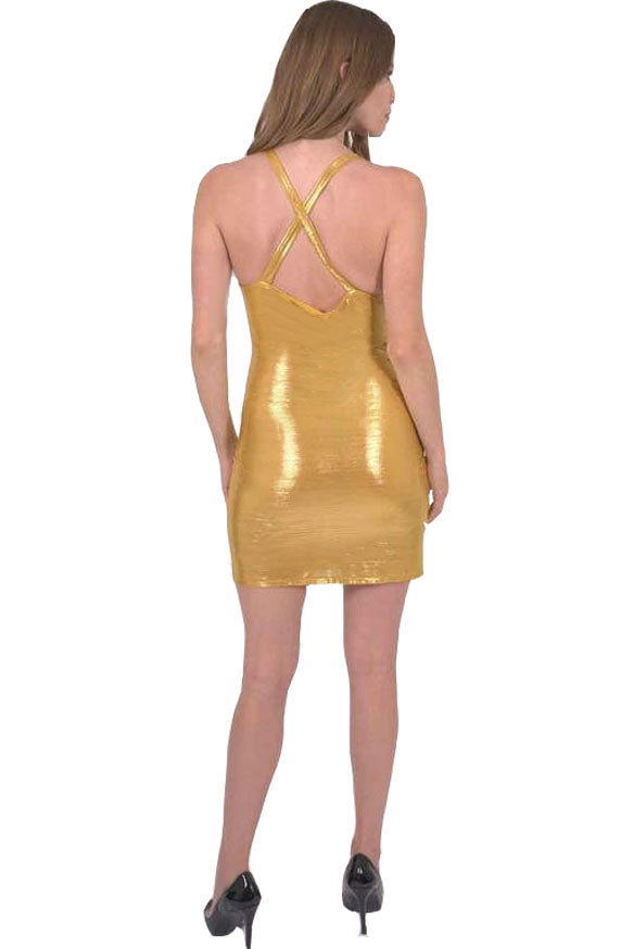 Ferrari Shiny Body-Con Gold Dress