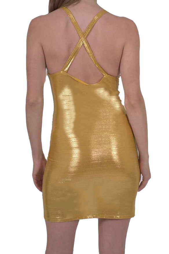 Load image into Gallery viewer, Ferrari Shiny Body-Con Gold Dress
