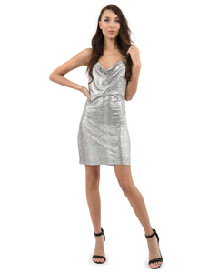 Gloaming Dress - Women spaghetti strap shiny backless mini dress