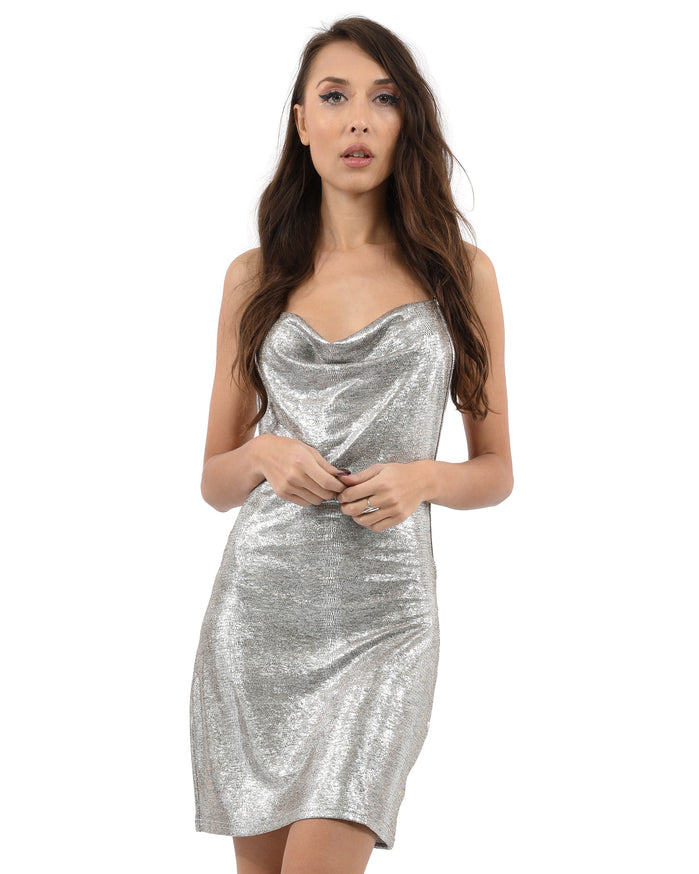 Load image into Gallery viewer, Gloaming Dress - Women spaghetti strap shiny backless mini dress
