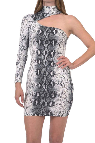 Reeves One-Sleeve Snake Print Mini Dress