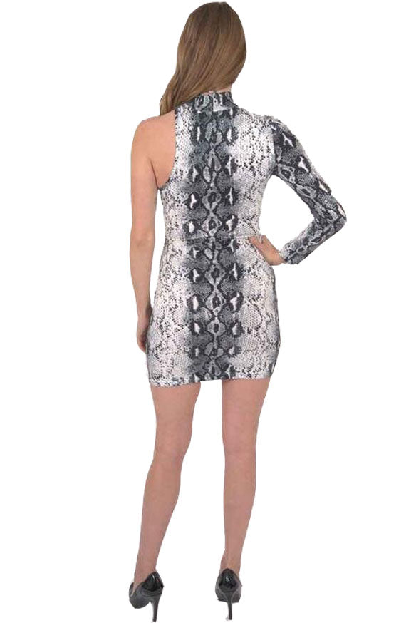 Load image into Gallery viewer, Reeves One-Sleeve Snake Print Mini Dress