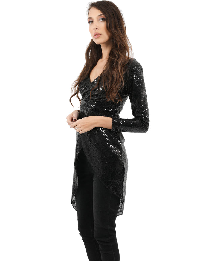Load image into Gallery viewer, Evelyn Sequin Deep-V Asymmetric Mini Dress - Black