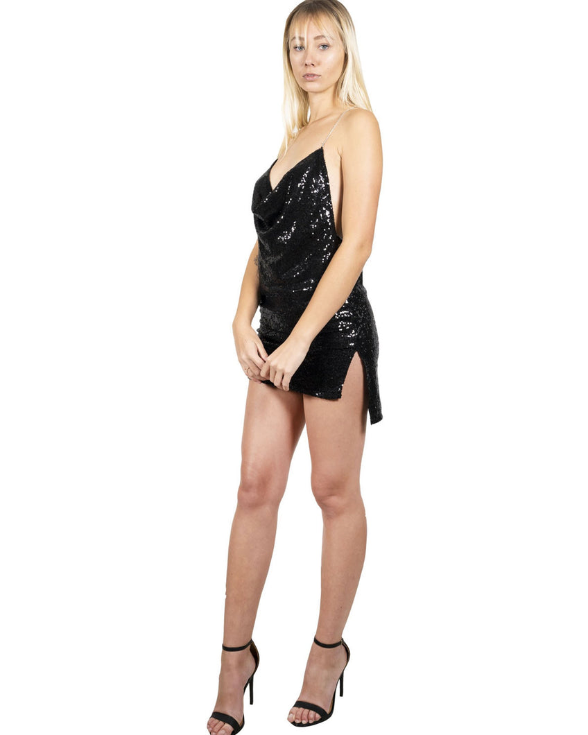 Leona Deep-V Sequin Mini Dress