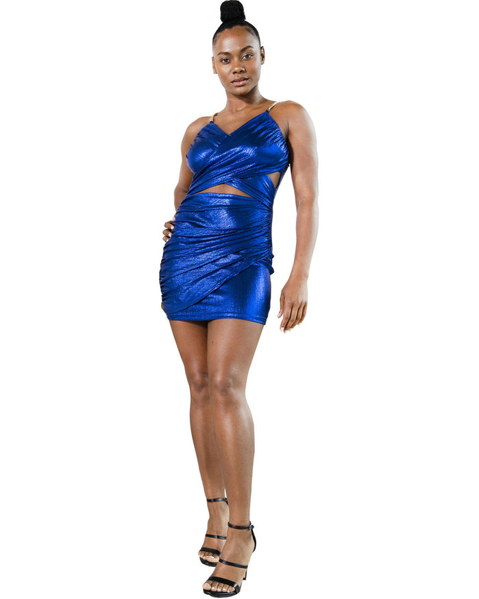 Load image into Gallery viewer, Firth Shiny Cross Strap Mini Dress