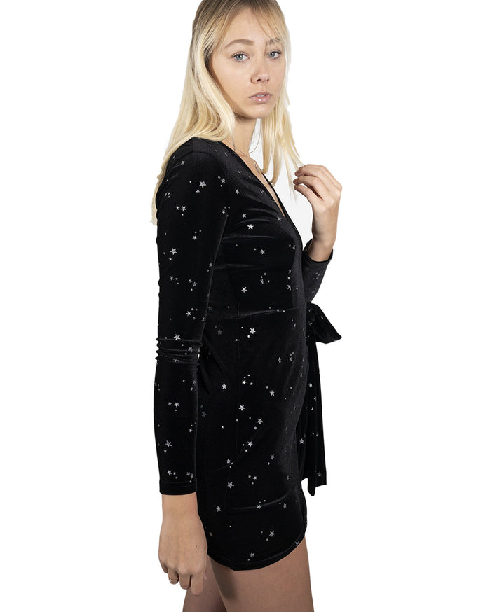 Load image into Gallery viewer, Gilcrest Starry Velvet Long Sleeve Mini Dress