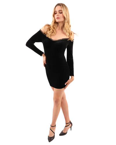 Hartford Off-Shoulder Velvet Mini Dress