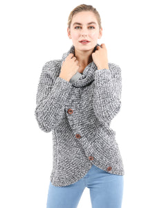 Royston Asymmetric Button-Up Sweater - Grey